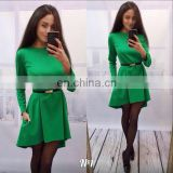 Factory price long sleeve pure color seam detail latest design 2016 women fashion tunic dress