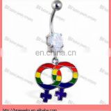 Navel ring with dangling linked rainbow female gender symbols body piercing jewelry ring