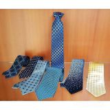 Dots White Mens Silk Necktie Classic Strips Knit
