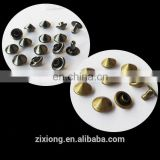 Solid Brass mushroom shaped head rivet for lady shoes and leather bag
