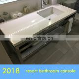 open shelf polished chrome vanity base for Italian Carrara white top