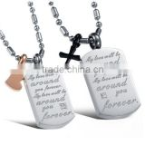 wholesale stainless steel square plate with letter pendant for lovers small MOQ and mix order