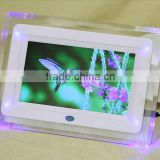 "New 7"" HD TFT-LCD Digital Photo Picture Frame Alarm Clock MP3 MP4 Movie Player with Light Remote Desktop EU/US Plug"