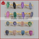Gold plated coated jewelry druzy manufacture & supply & exporters rings, natural druzy rings                                                                         Quality Choice