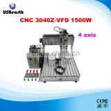 Small engraving machine medals 4 axis CNC Router 3040 1500W with limit switch,metal working machiner                                                                         Quality Choice