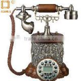Flower plated black button handmade waterproof resin wood antique telephone for home decoration