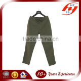 Lastest design customized fashion lady long green cotton loose pants woman high waist belt trousers