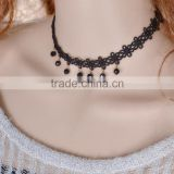 Crochet Cotton Flower Short Necklace With Beaded Pendant,Black Choker Nacklace