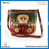 2016 bear straw bag with PU handle women beach bag china beach tote bag with accessory bear