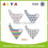 2016 ALVA New arrival baby bandana bibs with cotton fabric and adjustable washable baby drool bibs in China