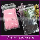 clear plastic bag with hang hole/plastic zipper cosmetic bags/double side transparent plastic bag with pockets