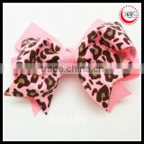 light pink animal leopard print ribbon hair bow clip girls barrette