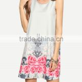 Women clothing factory OEM service round neck sleeveless print woven casual short dress SY1615