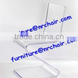 Modern acrylic material blue transparent desk chair