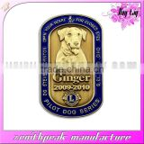 Promotional metal customized gold plated lion club dog tag
