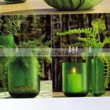 Hand blown colored glass candle holder glassware set