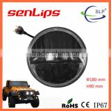 7inch 36W led jeep wrangler headlight with anger eyes color changing blue orange light
