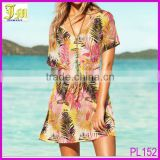 Wholesale Sexy Beach Dress Swim Bikini Cover Women Summer Dress With Leaves Print