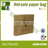 2013 Wholesale eco-friendly raw material of brown kraft paper bag with cotton handle for clothes packaging