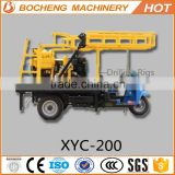 Trailer mounted portable shallow mini well drilling rig