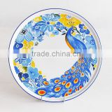 stoneware pizza plate with peacock decal