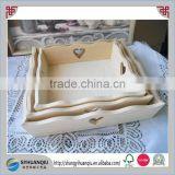 30x25cm Natural paulownia wooden fruit tray with heart handle for home bar restaurant decor organise