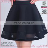 Customize garment manufacturer a-line mini black sexy girls cute short skirt with organze