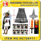 Wonderful kids halloween costume set 4 pcs halloween decoration cloak hat music stick with flashlight face color