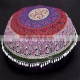 30'' Round Mandala Cushion Cover Indian Cotton Pouf Cover Throw Decorative Pillow Cases SSTH54