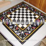 Inlay Black Marble Chess Design Coffee Table Top