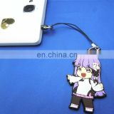 cute anime rubber mobile strap with dust plug