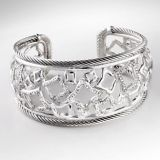 DY Sterling Silver 925 Pave Cubic Zircon Wide Tapestry Cuff Bracelet for Women
