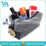 Black Leather Trim Waxed Canvas Toiletry Bag Men Shaving Kit Bag                                                                         Quality Choice
