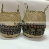 High quality best selling eco-friendly Set of seagrass storage basket with Brocade fabric around from Vietnam