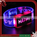 Light Up Promotional Custom Logo Happy Led Bracelet, Led Wristbands, Led Bangle Party Decoration