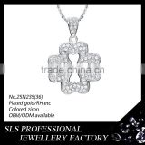 Snow flower silver pendant necklace for chrildren gift with cubic zircon micro pave jewelry custom metal pendant
