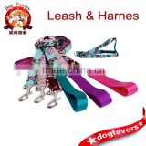Cute turquoise dog harness Folk meets fairy tale woodland style fabric girly step in harness Dog leash is available