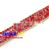 Newest Style rhinestone strass beaded trim, fancy cup chain crystal rhinestone strass trimming yards for decoration
