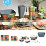 eco bamboo Fiber Decals Dinnerware Set 23 Piece Square Banquet Dishes Plates Bowls Cups Saucers