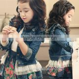 fashion wholesale fall kids love sleeve denim jacket for girls