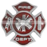 """Fire Dept."" And Displays A Red Enamel-Filled Maltese Badge With Fire Fighting Tools Metal Fridge Magnet"