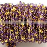 3 Feet Natural Purple Amethyst And Gold Pyrite Faceted Rondelle Gemstone Rosary Style Wire Wrapped Beaded Chain