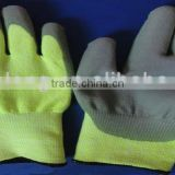 UHMW PE FIBER knitted gloves with PU coated on palm,fluorescence function, 13 gauge, cut resistant level-5