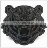 Custom glossy black color vivid tiger DIE cut logo TPU material heat transfer patch for garment/jacket
