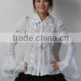 Cotton White Lace Short sleeve Cotton Lolita Blouse 81053