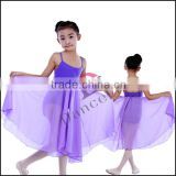 C2147 Wholesale kids chiffon long ballet dance dress in black for children black chiffon dress