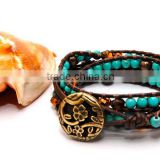 4 Wrap leather bracelet Turquoise Beads with Topaz Crystals and Brass Flower Button Closure