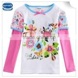 (F5971D) 2-6Y girls flower tshirts baby clothes pure cotton apparel long sleeves blouse novakids branded embroidery tshirts