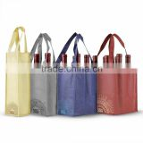 Plain Reusable Wine Bottle Tote Bags - Set of 4