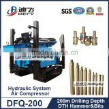 Portable drilling rig machine DFQ-200 hydraulic used water well drilling machine for sale